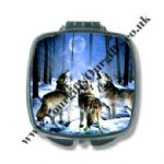 Wolf Themed Chrome Compact Mirrors